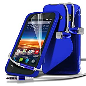 Vodafone Smart 4 Mini Blue S Line Wave Gel Case Skin Cover With LCD Screen Protector Guard, Polishing Cloth & Hands Free Earphone with Built in Microphone Mic & On-Off Button by Fone-Case