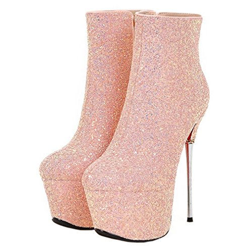 Enmayer Mujeres Glitter Material Zapatos Plataforma Alta Botas De Tacón Alto Cremallera Rosa