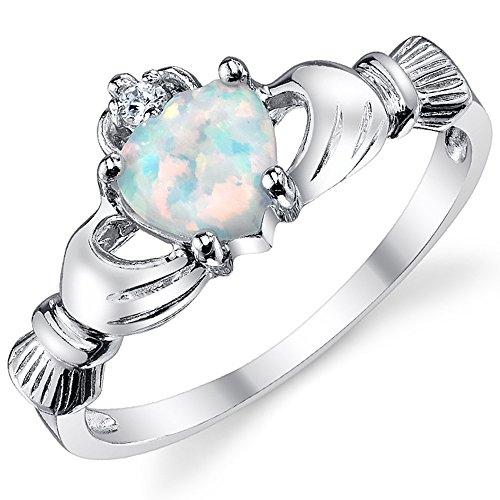 Sterling Silver 925 Irish Claddagh Friendship & Love Ring with Simulated Opal Heart 7 (Irish Heart Ring compare prices)