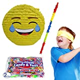 Pinatas Laughing Emoji Kit Including, Buster Stick, Bandana, 2 lbs. Candy Filler