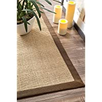 Natural Fiber Cotton Border Sisal Herringbone Brown Area Rugs, 6 Feet by 9 Feet (6 x 9)