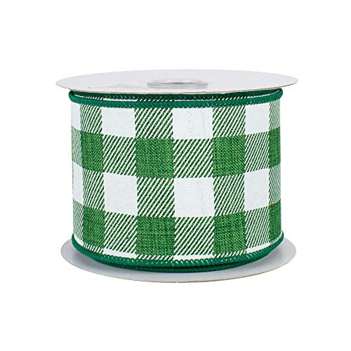 Emerald Green Plaid Wired Ribbon - 2 1/2 Inch x 10 Yards, Saint Patrick's Day, Winter Decor, Christmas, Birthday, Wedding Decoration, Arbor Day, Earth Day