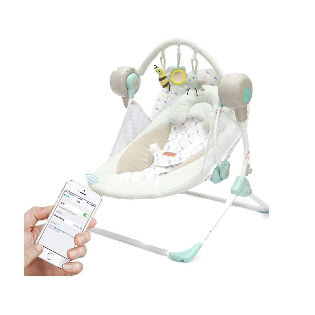 Multifunctional Electric Chargable Crib Travel Cots Remote Control Bluetooth Folding Portable Adjustable (Color : B)