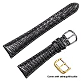 deBeer brand Genuine Lizard Watch Band (Silver & Gold Buckle) - Black 22mm