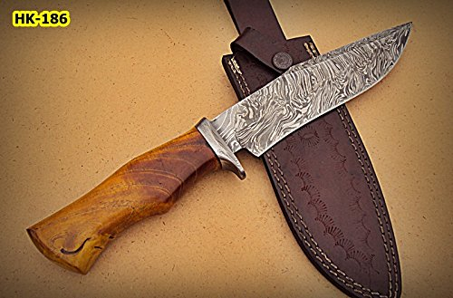 REG-HK-186, Handmade Damascus Steel 12.2 Inches Bowie Knife - Appricots Wood Handle with Damascus Steel Guard