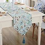 JYQ Coloured Leaves Rural Jacquard Weave Table Runners (12.5'' x 62'', Light Blue)
