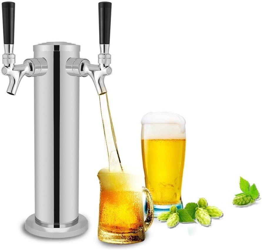 Zouminyy Torre de cerveza de barril con manguera, grifería doble Torre de cerveza de barril de acero inoxidable Dispensador de grifo de cromo para uso doméstico Bar Uso de pub