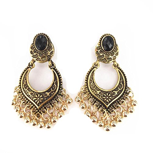 Beuu Bohemian Vintage Engraved Tassel Earrings Traditional Polkki Indian Bollywood Jewelry Gold Plated Wedding Wear Polki (Gold)