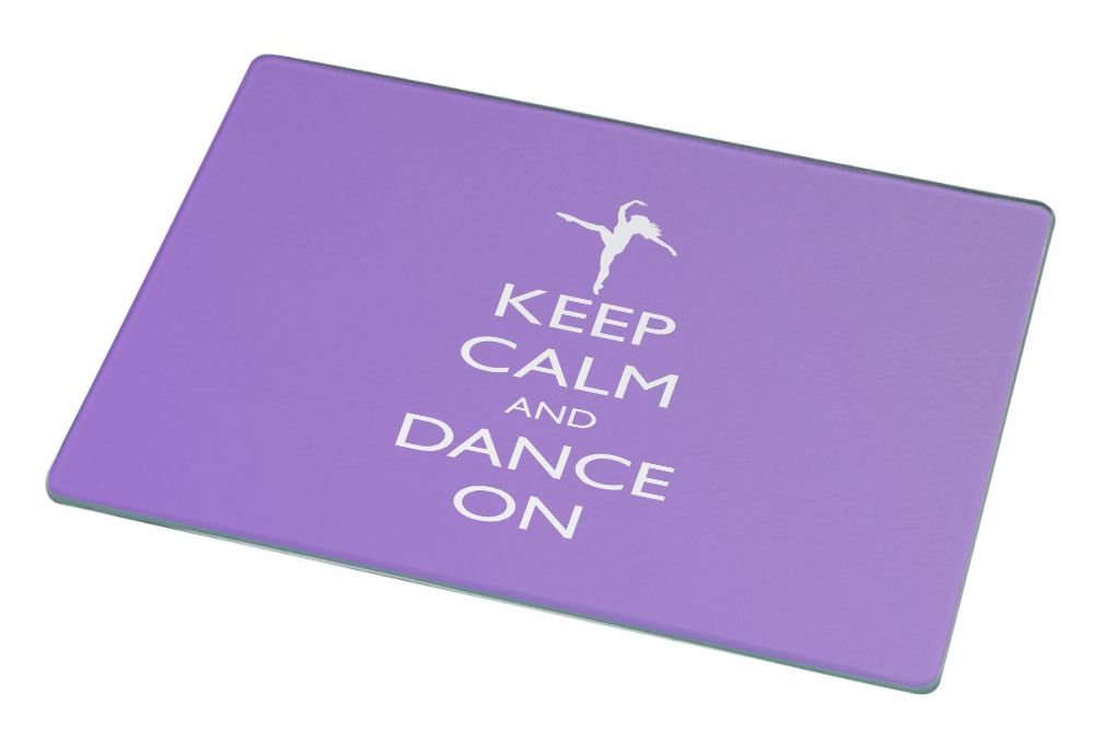 Rikki Knight RK-LGCB-767 Keep Calm and Dance on Glass Cutting Board, Large, Violet