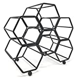 Clever Home Modern Hexagon 6 Bottle Table Top Steel Wine Rack (Matte Black)