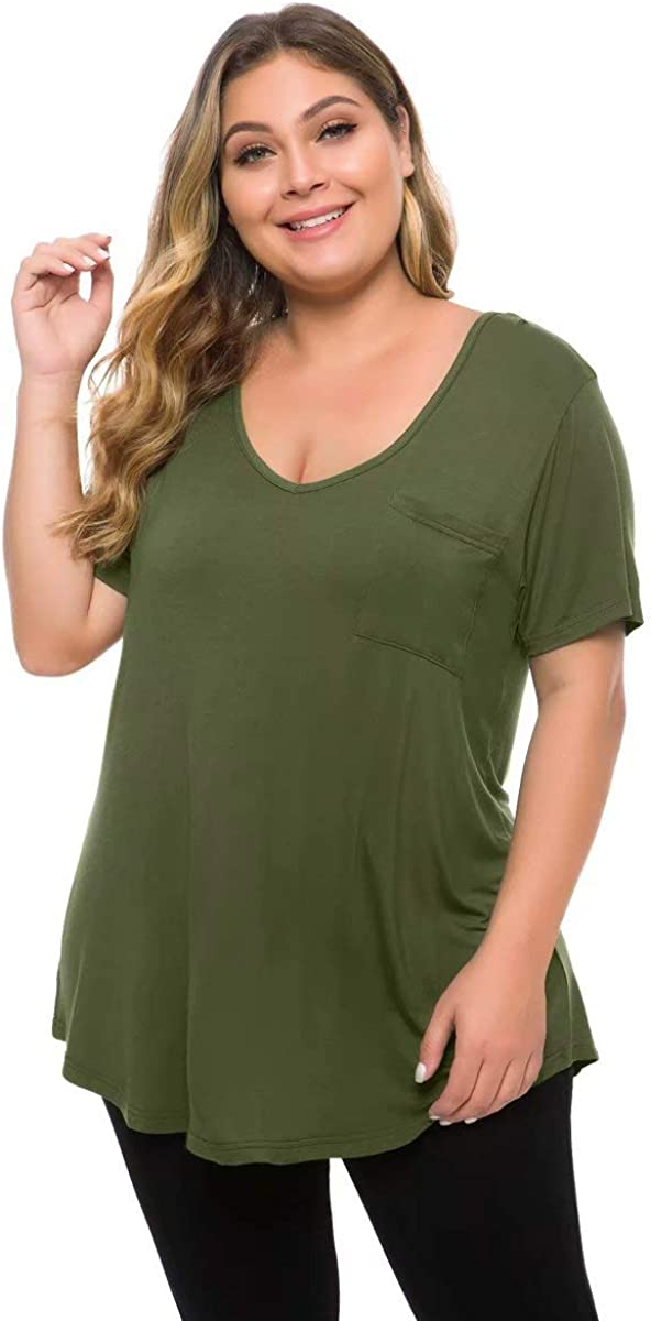 MONNURO Womens Plus Size Shirts Casual V Neck Short Sleeve Tunic Top with Pocket