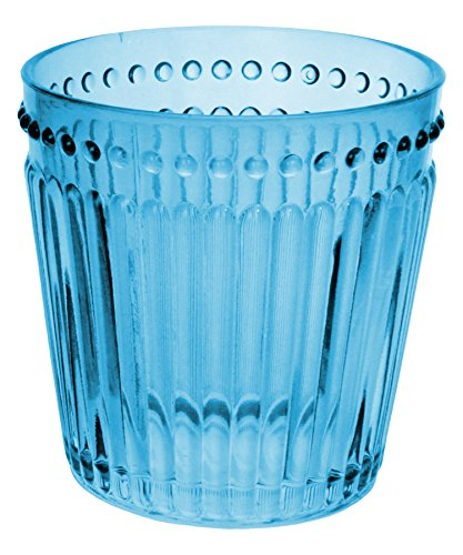 Zrike Brands Opulence Double Old Fashioned Glass, Blue, Set of 4 (Glass Pressed Blue)