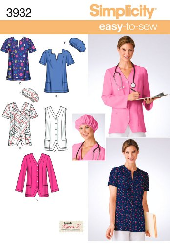 Amazon Simplicity Sewing Pattern 40 MissPlus Size Scrubs AA Classy Scrub Top Patterns