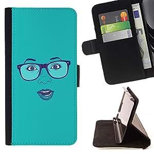 For HTC Desire 820 Case , Cara atractiva Gafas Labios azules de la mujer- la tarjeta de Crédito Slots PU Funda de cuero Monedero caso cubierta de piel