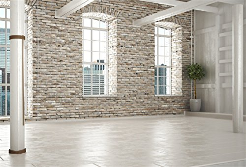 CSFOTO 7x5ft Background for Empty Room of Business or Residence with Brick Interior Photography Backdrop Workplace Elegant Style Home Interior Unfinished House Photo Studio Props Polyester Wallpaper ()