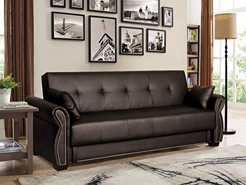 Serta Active 3-Seat Convertible Sofa with Storage Studded Arm Faux Leather Java Brown