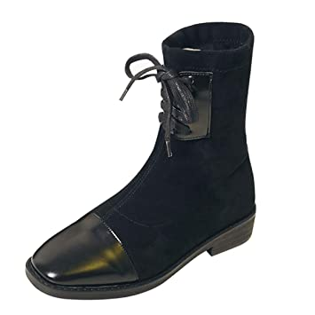 GTVERNH Moda/Zapatos de Mujer/Martin Botas Botas Cortas Medio Tacón Tramo Botas Suelas