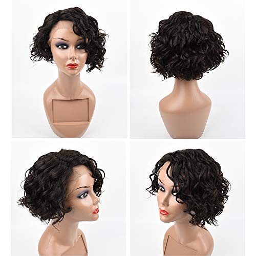 Curly Messy Bob Human Hair Wig Chic Short Side - Parted Wavy Brunette Bob Wigs T Lace Front Water Deep Wave Natural Black Human Hair Wig for Women