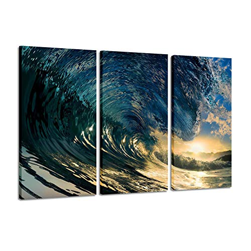 Canvas Painting Decor Ocean Pictures: Prints Beach The Waves Art Paintings Printed on Canvases for Wall Decorations Artwork, 3 Piece (26