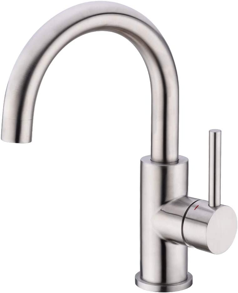 CREA Kitchen Mixer Tap, Single Handle Basin Taps with 360° Swivel Spout, Bar Sink Tap with UK Standard Fittings, Mixer Tap for Small Kitchen or Bathroom, Stainless Steel