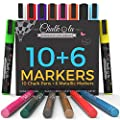 Chalkola Chalk Markers & Metallic Colors - Pack of 16 chalk pens - For Chalkboard, Whiteboard, Window, Labels, Bistro - 6mm Bullet Tip with 8 gram ink by Chalkola