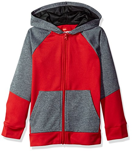 (Hanes Boys' Big Tech Fleece Full-Zip Raglan Hoodie, Scarlet/Stealth Heather, Medium)