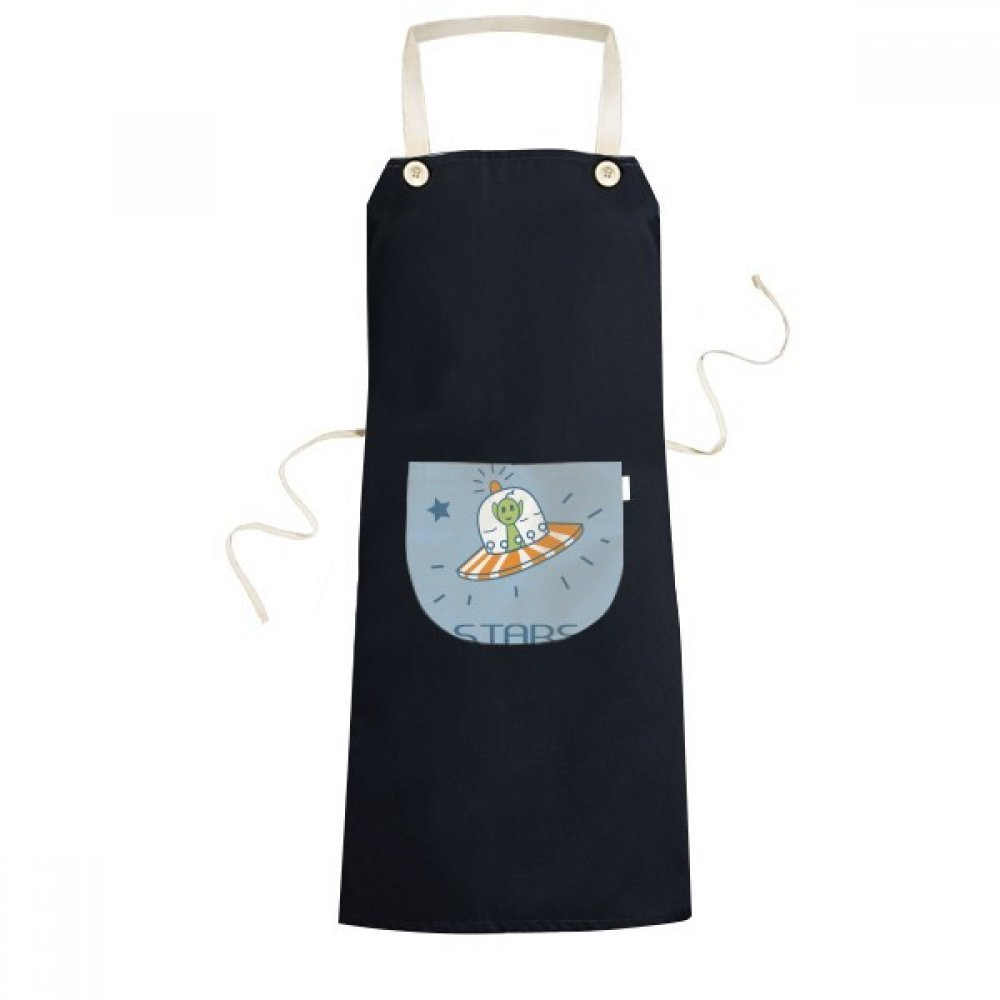 DIYthinker Universe And Alien Travel Among Stars Cooking Kitchen Black Bib Aprons With Pocket for Women Men Chef Gifts