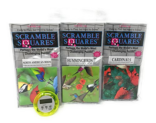 Birds Scramble Squares - Bundle Of Scramble Squares B Dazzle Birds Puzzles For Adults/Teens/ Kids - 3 Puzzles Included - North American Birds, Hummingbirds And Cardinals With Exclusive Digital Timer