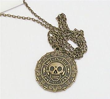 Pirates of the caribbean skulls aztec pendant necklace with chain pirates of the caribbean skulls aztec pendant necklace with chain for women and man mozeypictures Images