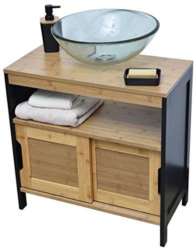 EVIDECO 9900237 Vanity Cabinet, Black,Brown, Bamboo