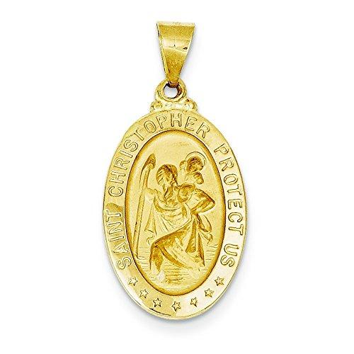 Or 14carats poli et satiné St. Christopher Médaille Pendentif