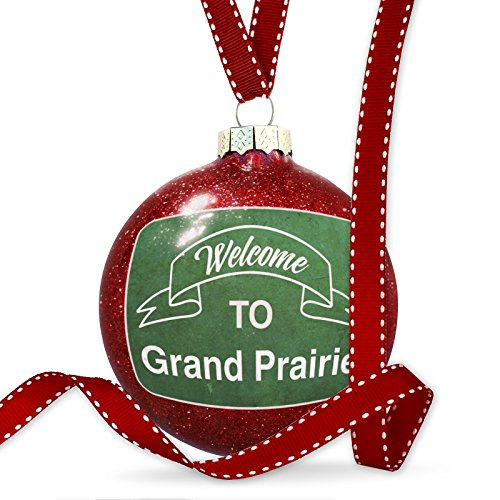 Christmas Decoration Green Sign Welcome To Grand Prairie Ornament (Christmas Prairie Lights Grand)