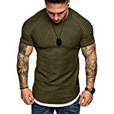 Men's Loose Fit Soft Comfy Cotton Undershirts Breathable Crew Neck Slim Fit Tees Ruched Short Sleeve T-Shirts