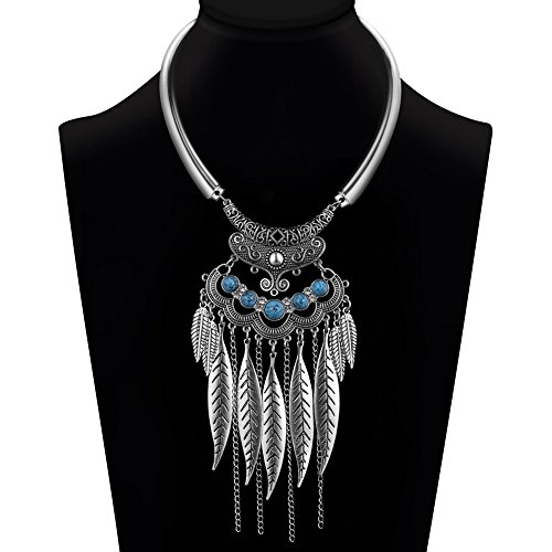 Ysiop Women Bohemian Statement Necklace Vintage Neck Strap Turquoise Leaf Tassel Pendant Silver Updated