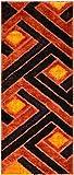 Royal Collection Orange Brown Contemporary Design Shaggy Area Rug (6017) (3'3″x7′)