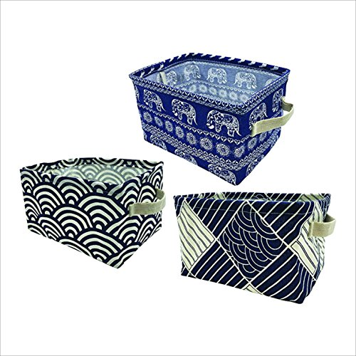 Colorful Set of 3 Blue Fabric Bins for Winter Gear, Hats, Etc.