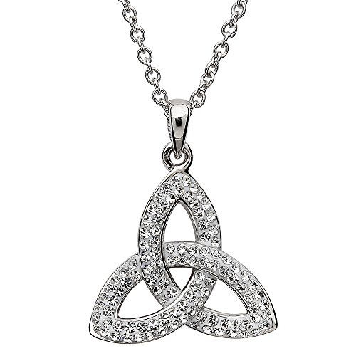 Sterling Silver Celtic Trinity Knot Pendant Adorned By Sw...