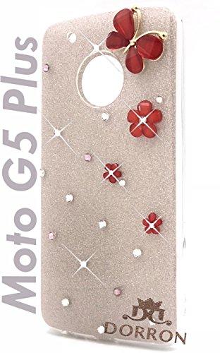 DORRON Butterfly Bling Rhinestones Glitter TPU Back Cover for Motorola Moto G5 Plus  Champagne Gold