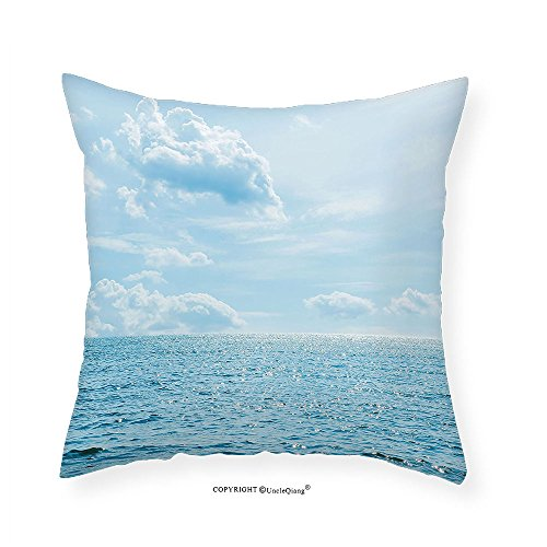 VROSELV Custom Cotton Linen Pillowcase Apartment Decor Sea and Sky Combined Mixed Each Other Vivid Life Inspiration Hope Nobody Relax Image Bedroom Living Room Dorm Decor Light Blue - Plaid Sham Each