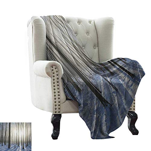 (BelleAckerman Wearable Blanket Woodland,Wintertime Forest on a December Morning Snowy Sunshine Shadows Trunk, Pale Yellow Bluegrey Couch/Bed,Super Soft and Warm,Durable Throw Blanket 60