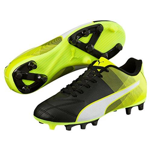 Puma Junior Adreno II FG Chaussures de football–Noir/Blanc/Jaune