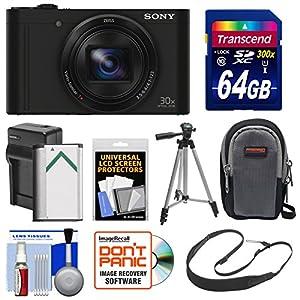 Sony Cyber-Shot DSC-WX500 Wi-Fi Digital Camera (Black) with 64GB Card + Battery & Charger + Case + Strap + Tripod + Kit