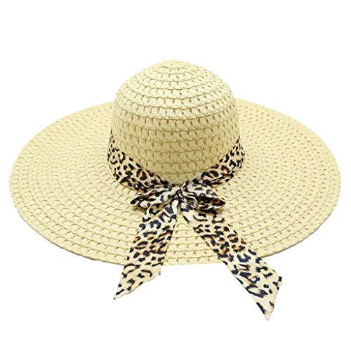 Cap Embroidered Print Screen - Sinfu Women Simple Fashion Leopard Print Bow Sunscreen Foldable Beach Hat Sunhat (Light Beige)