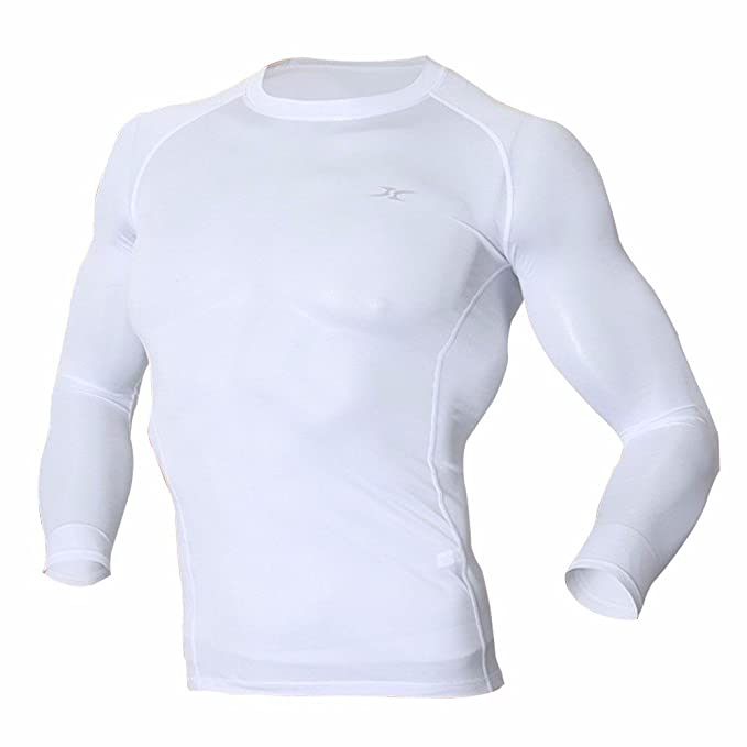 Camiseta térmica ropa interior Camisas Tops capa base compresión manga larga Negro Empl, Hombre,