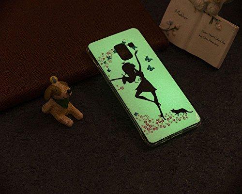 Funda Samsung Galaxy A8 2018,Carcasas Samsung Galaxy A8 2018 Silicona TPU Noctilucentes LED Silicona Flexible Ultra Delgado Ligero Goma Case Cover Caja Suave Gel Shock Absorción Anti Rasguños Anti Cho Chica Gato