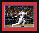 "Framed Michael Young Texas Rangers Autographed 16"" x 20"" Bat Down Photograph with Rangers All-Time Hits Leader Inscription - Fanatics Authentic Certified"