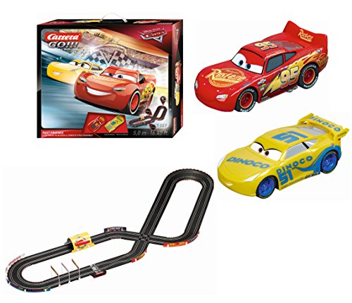 Carrera GO 62419 Disney/Pixar Cars 3 Fast Friends Slot Race Track Set-1:43 Scale Analog System, Includes 2 Race Cars Lightning Mcqueen and, Dinoco Cruz and 2 Speed Controllers-Ages 8+