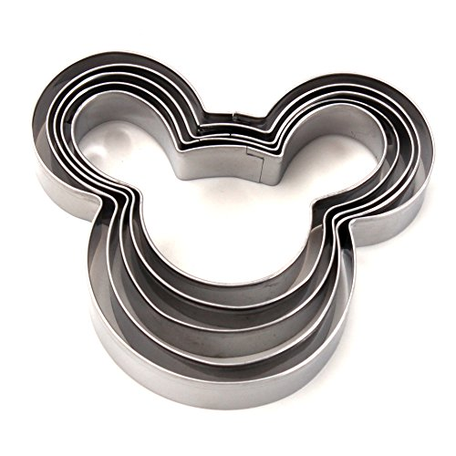 ZICOME 5-Piece Mouse Shape Cookie Cutter Set, Stainless Steel]()