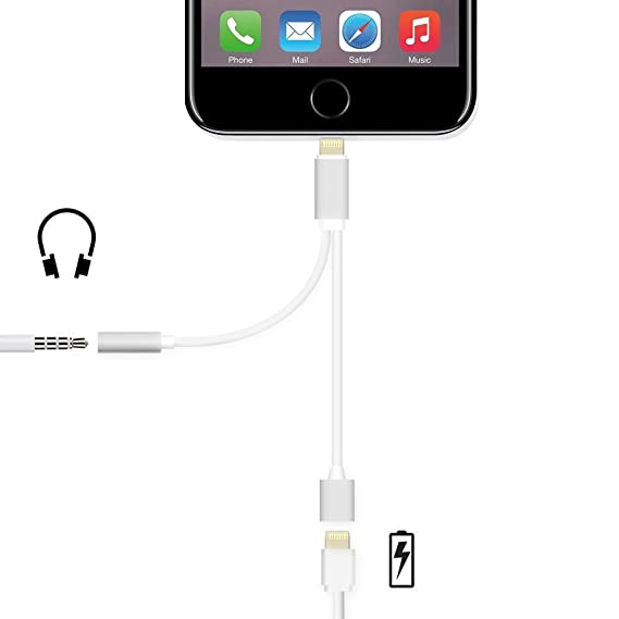 detailed look 33962 f5a6f Amazon.com: 2 in 1 Lightning Adapter for iPhone 7, Charger and 3.5mm ...
