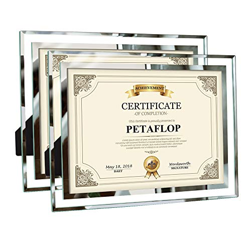 PETAFLOP 8.5x11 Certificate Frames Document Frame High Definition Glass Picture Frames Tabletop Type, 2 Pack (Best Definition Of Marriage)